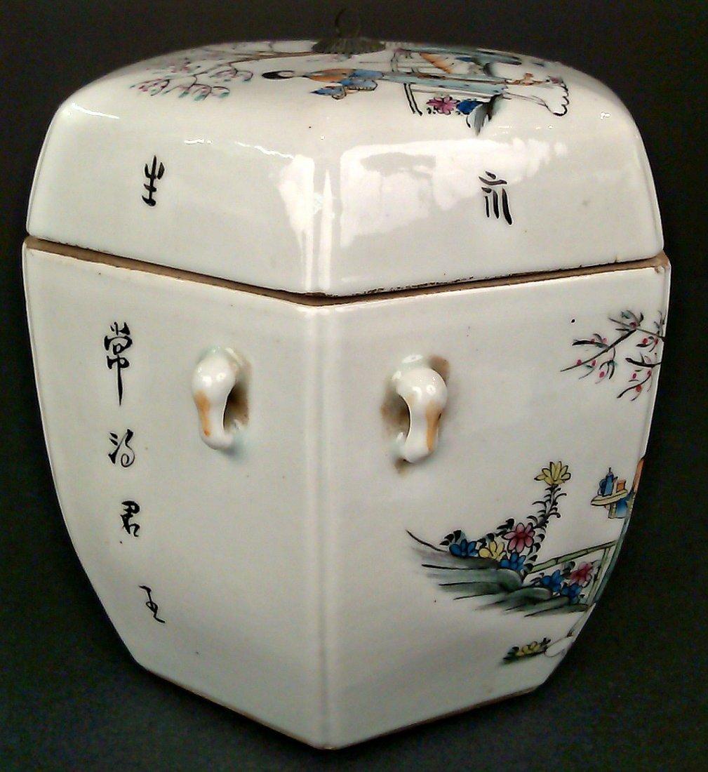 Porcelain Famille Rose Hexagon Jar w/ Lid - 4