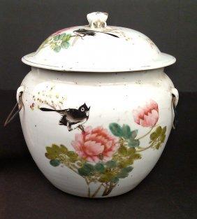 Antique Porcelain Congee Jar w/ Lid