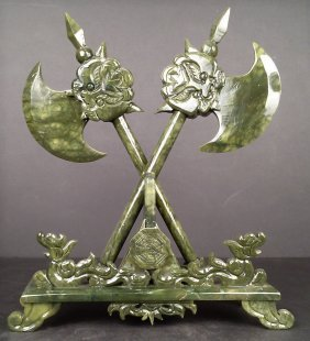 Set of Jade Axe On Stand