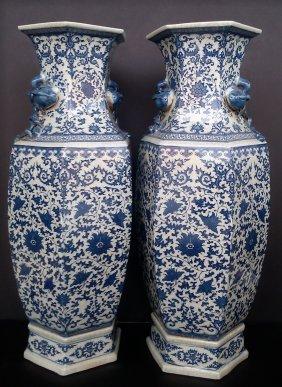 """Pair of Porcelain Blue & White  Vase 25"""""""