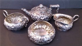 4-PC Sterling Silver Tea Set stamped Theodore B. Starr