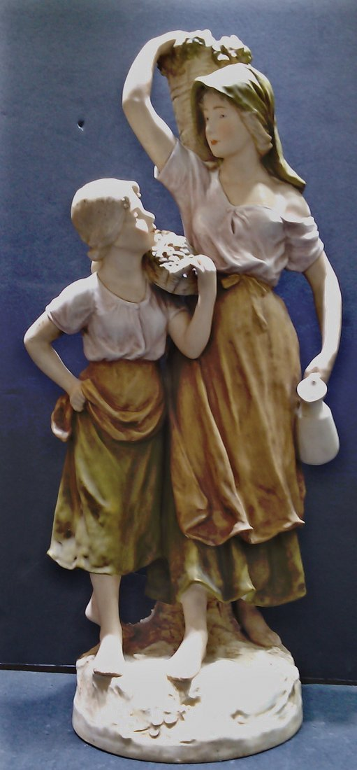 """Royal Dux Mother and Daughter Figure 23"""" - 2"""