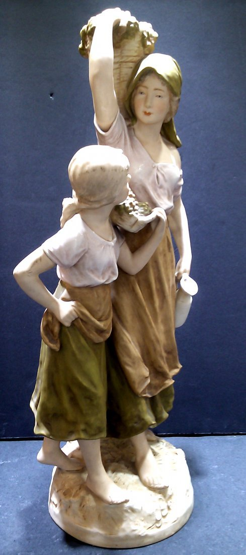 """Royal Dux Mother and Daughter Figure 23"""" - 3"""