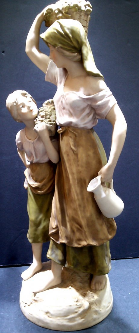"""Royal Dux Mother and Daughter Figure 23"""" - 4"""