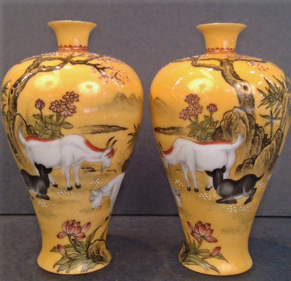 A PAIR OF MIRROR IMAGE VASES QIANLONG
