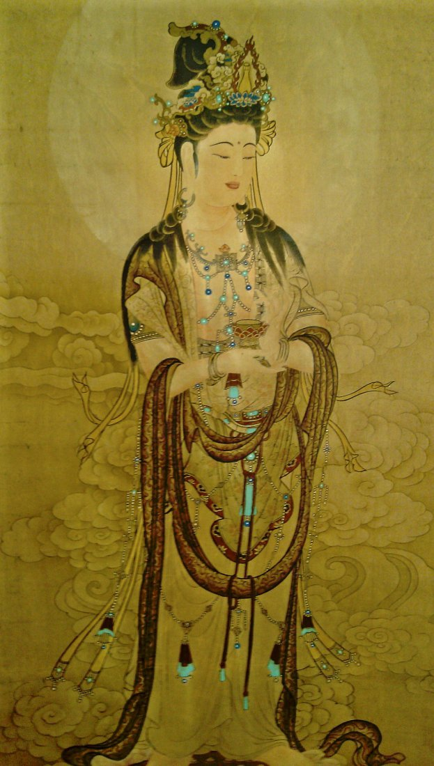A SCROLL PAINTING OF GUANYIN FIGURE