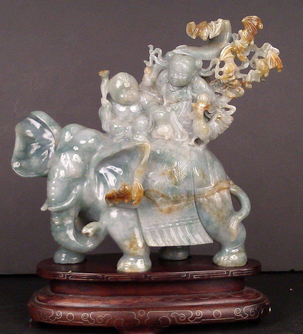 LAVENDER JADEITE BOY & GIRL ON ELEPHANT