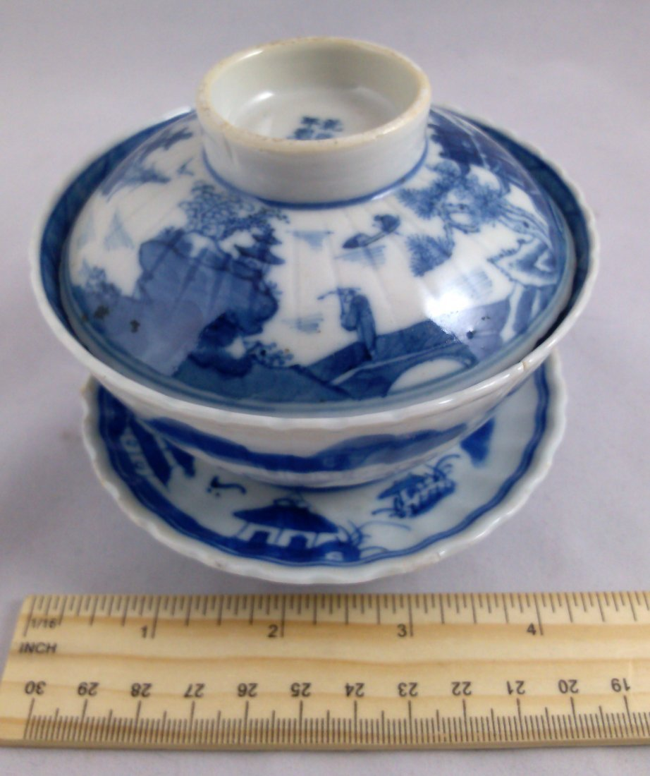 PAIR OF BLUE AND WHITE CHINESE EXPORT PORCELAIN TEA CUP - 10