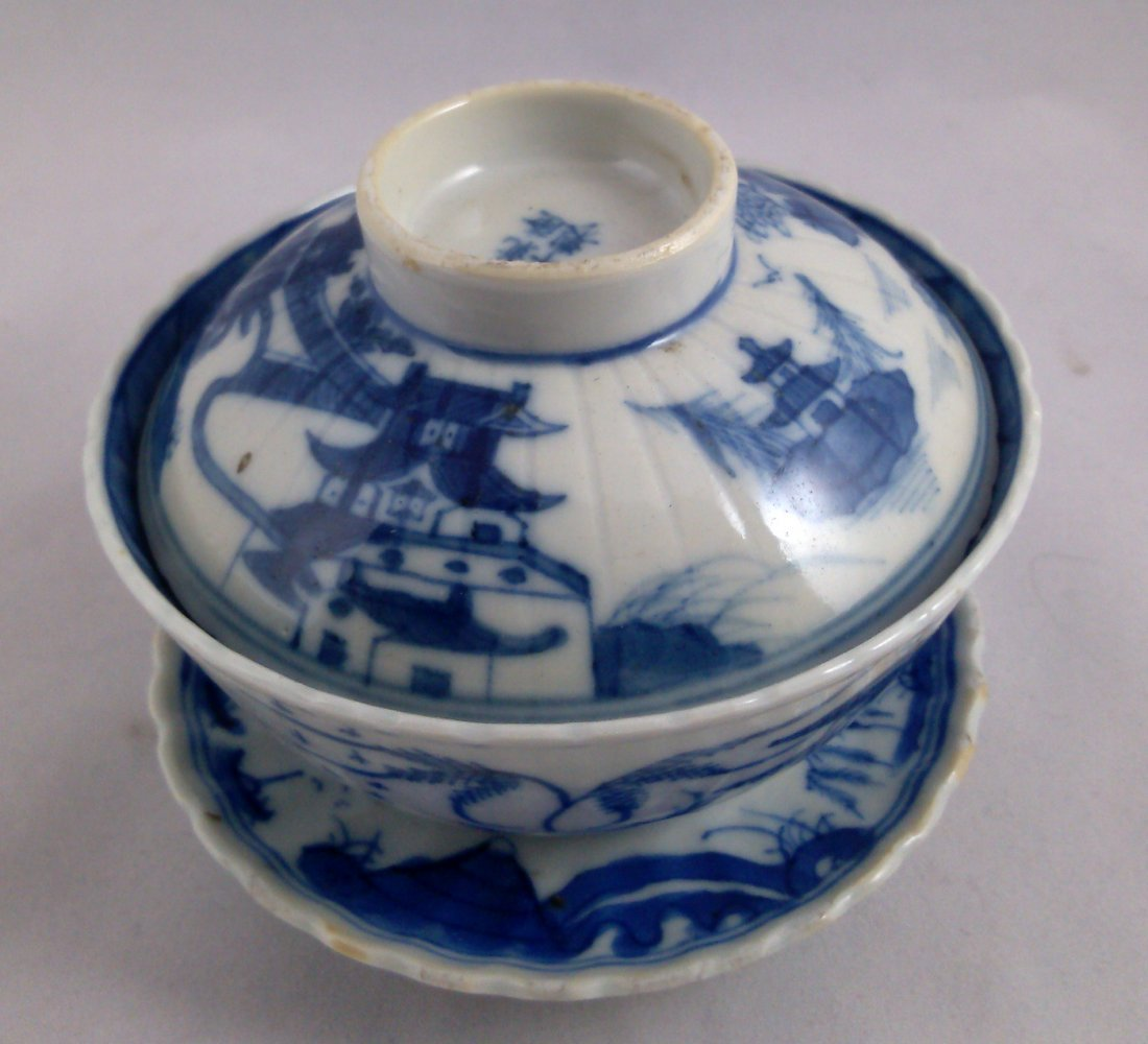 PAIR OF BLUE AND WHITE CHINESE EXPORT PORCELAIN TEA CUP - 2