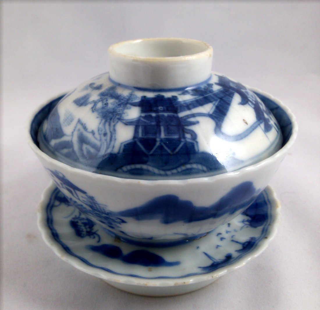 PAIR OF BLUE AND WHITE CHINESE EXPORT PORCELAIN TEA CUP - 3
