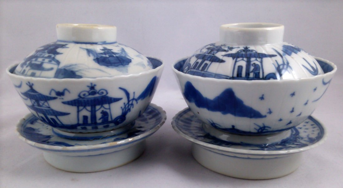 PAIR OF BLUE AND WHITE CHINESE EXPORT PORCELAIN TEA CUP - 5