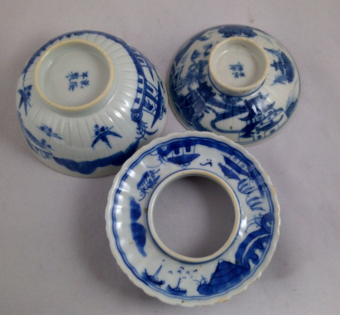 PAIR OF BLUE AND WHITE CHINESE EXPORT PORCELAIN TEA CUP - 6