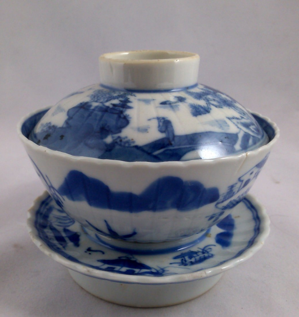 PAIR OF BLUE AND WHITE CHINESE EXPORT PORCELAIN TEA CUP - 9
