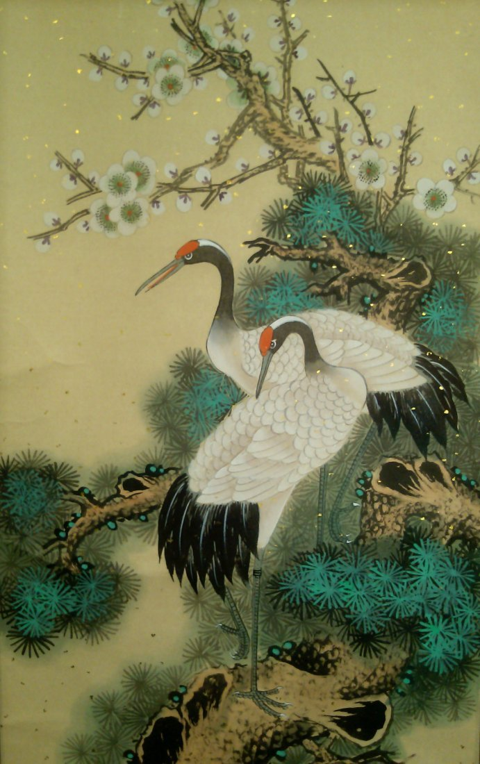 A SCROLL PAINTING OF PINE AND CRANES