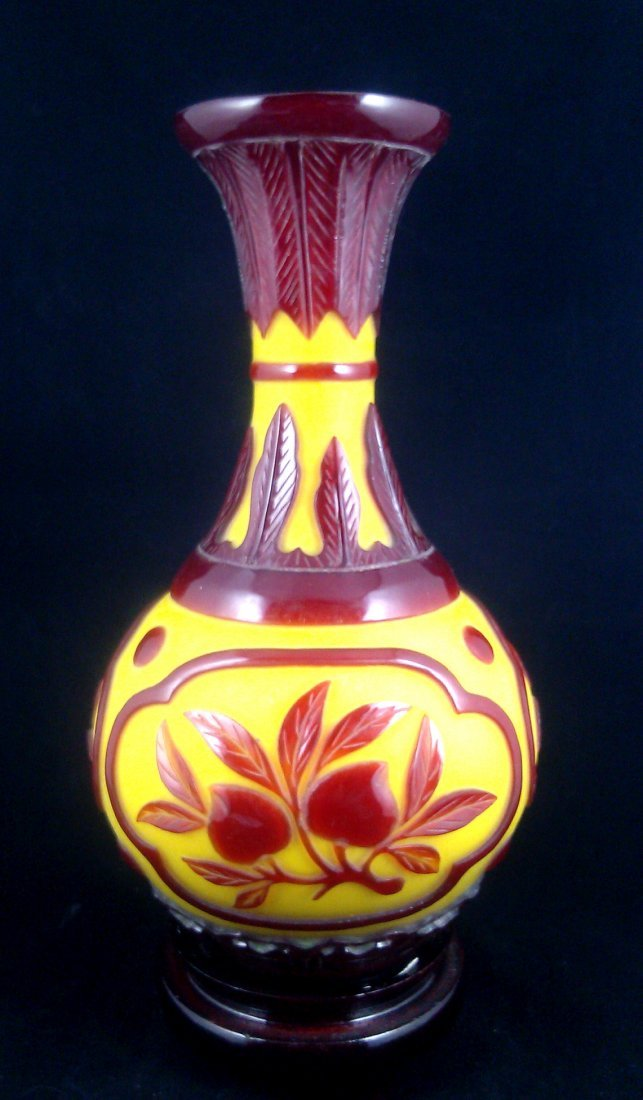 CARVED PEKING GLASS VASE RUBY RED OVER YELLOW GROUND