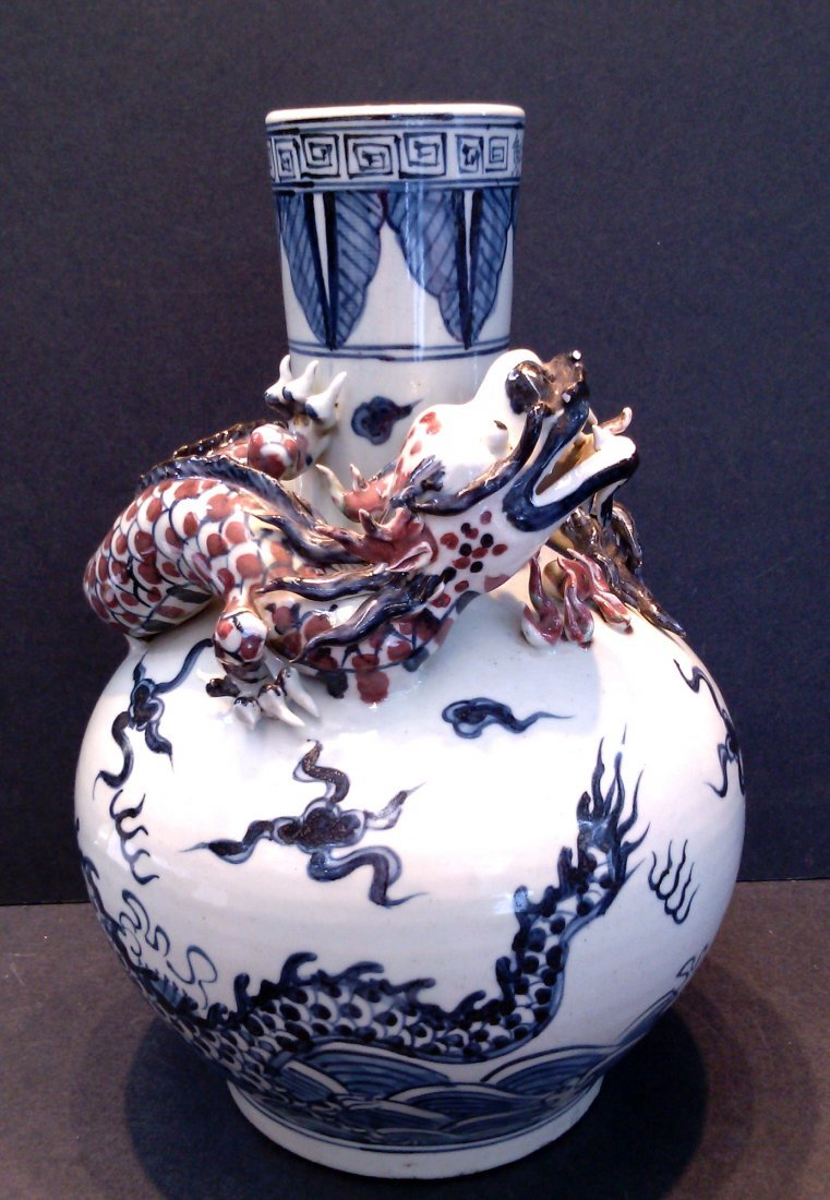 BLUE AND WHITE PORCELAIN VASE RAISED DRAGON PEARL WITH