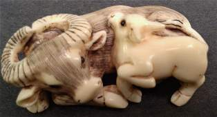HIPPO IVORY CARVING NETSUKE OF WATER BUFFALO AND CALF