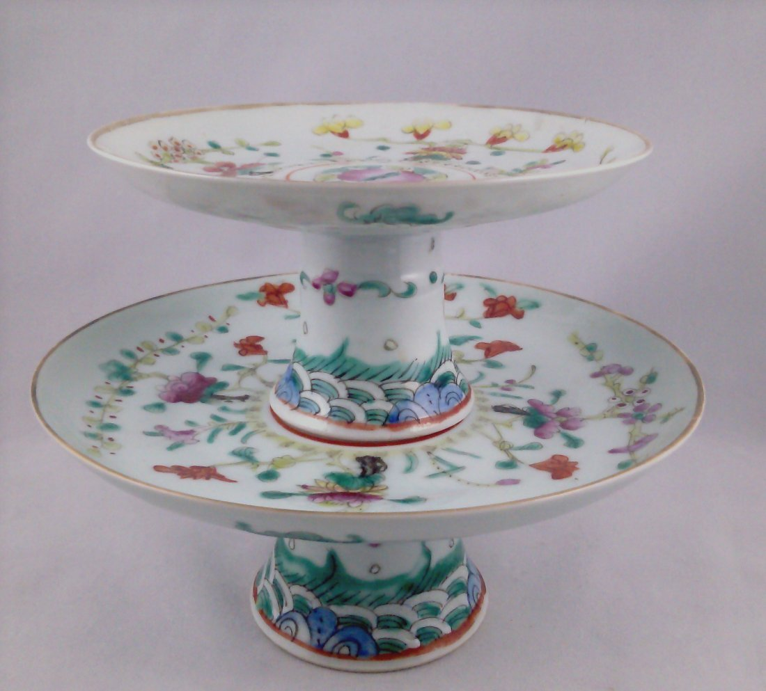 CHINESE EXPORT FAMILLE ROSE PORCELAIN STACKING PLATES