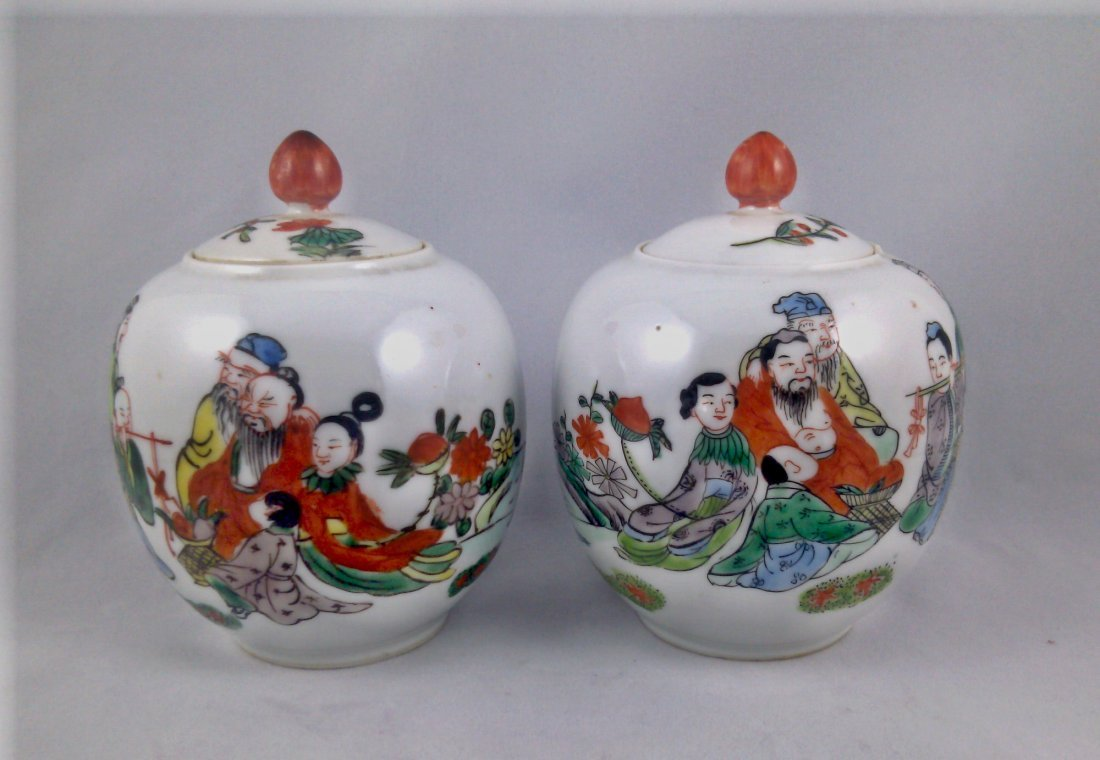 PAIR OF FAMILLE ROSE JARS WITH LID,  8 IMMORTALS.
