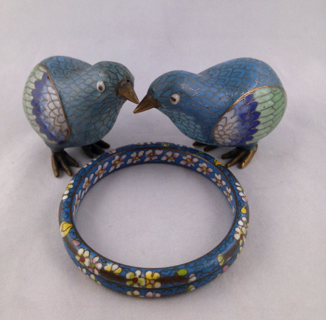 LOT OF3 VINTAGE CHINESE CLOISONNÉ: PHEASANTS AND