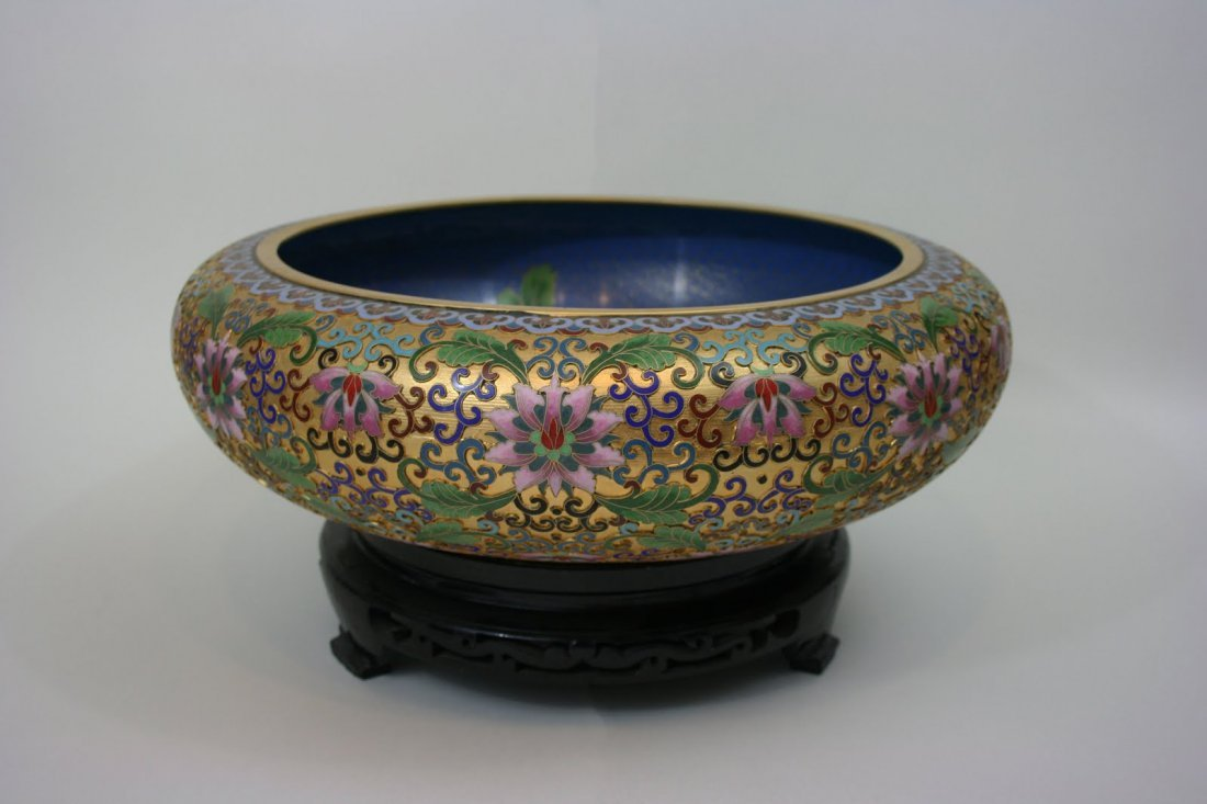 CLOISONNE DEEP CHARGER WITH CARVED RED WOOD BASE