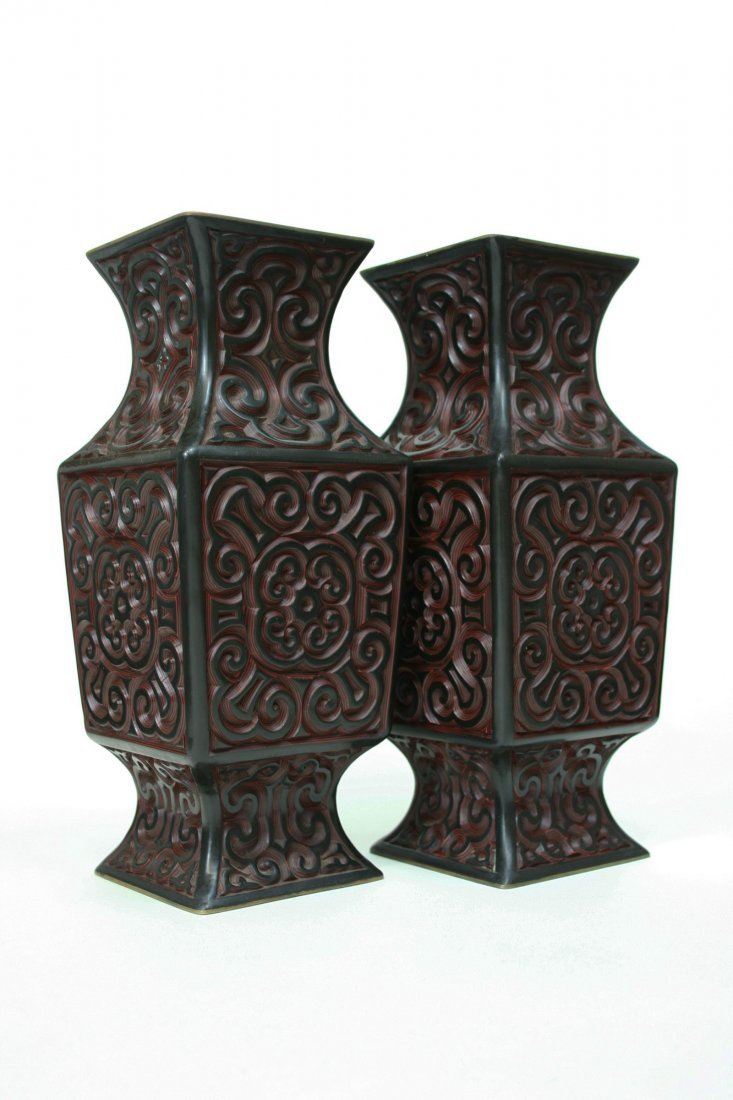 PAIR OF SQUARED CARVED CHINESE BLACK AND RED LACQUER