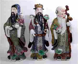 THREE PORCELAIN IMMORTALS FROM THE REPUBLIC PERIOD