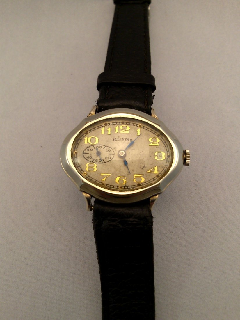 A vintage rare Piccadilly men's oval watch by Illinois