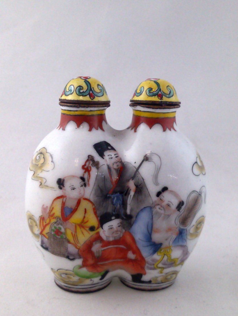 A very rare twin cloisonne snuff bottle painted enamel