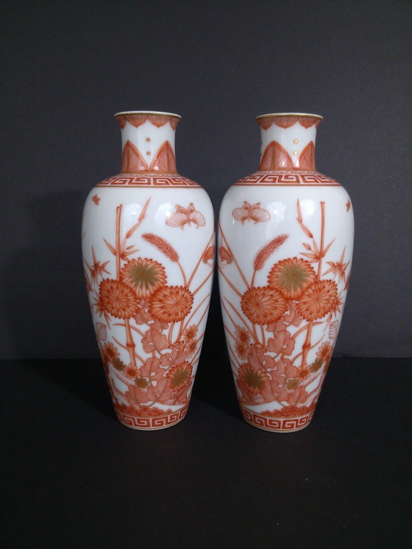 A Qing dynasty pair of mirror image porcelain vases