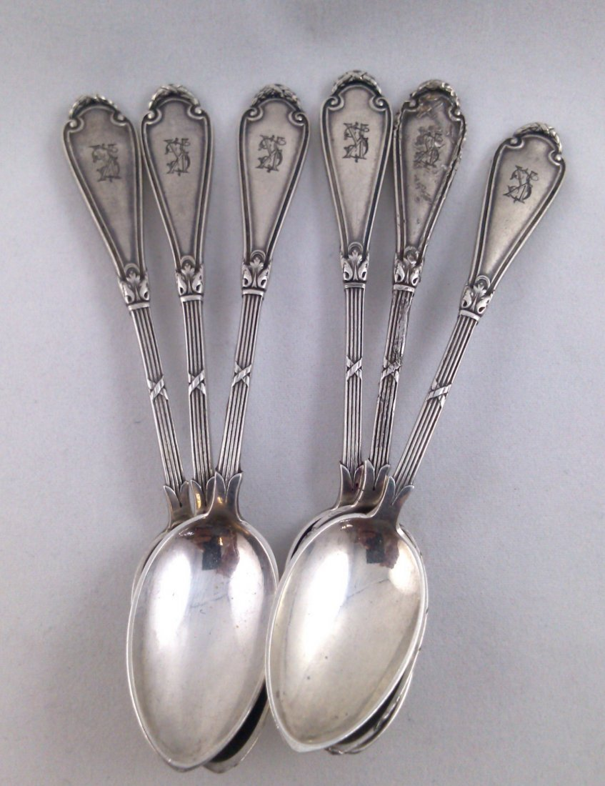 A  fine Imperial Russian Faberge silver spoon six piece