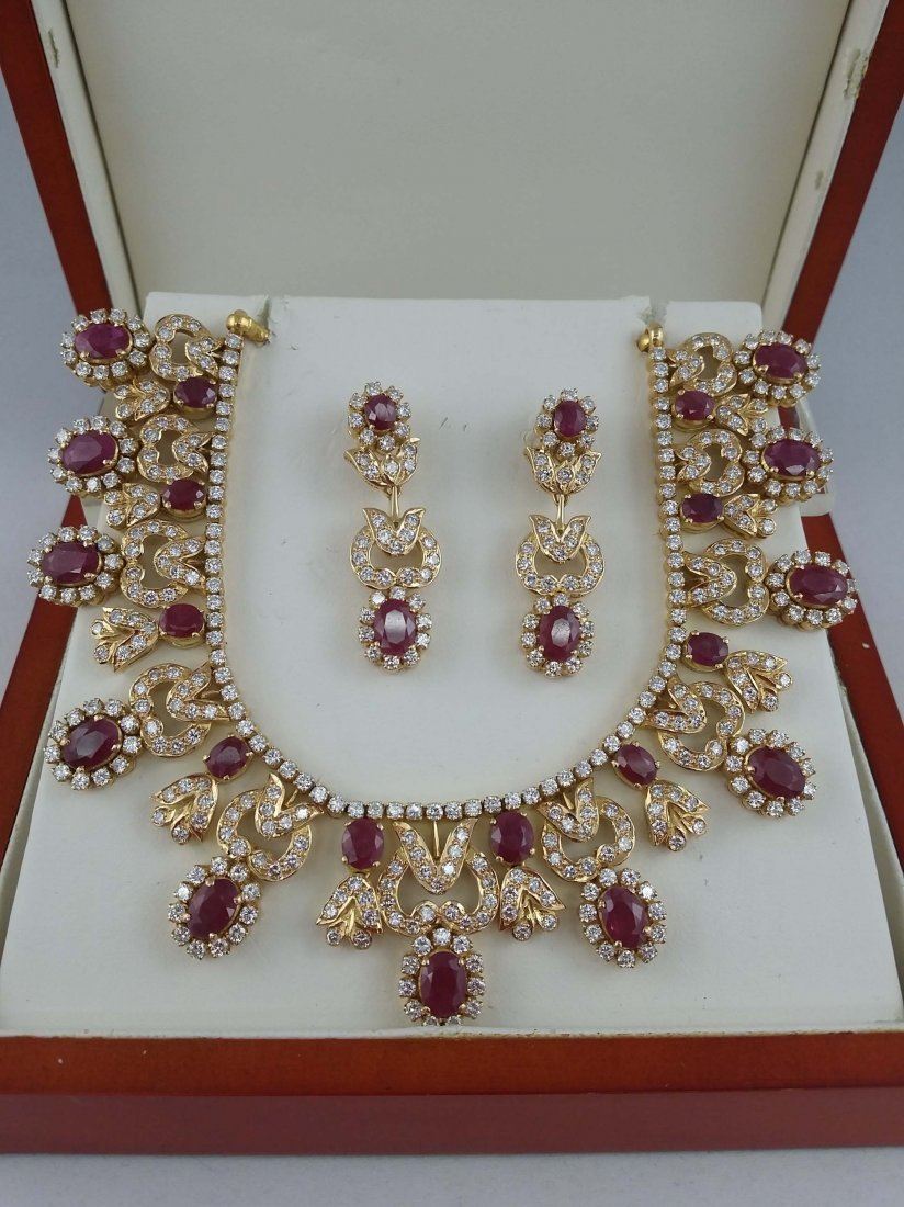 A set of Ruby and Diamond Necklace and Earrings
