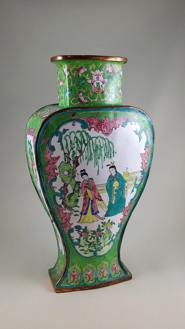Chinese Enamel on Copper Republic Hand Painted Vase
