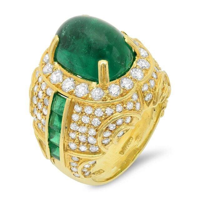 A Natural Beryl Emerald Oval Double Cabochon Diamond