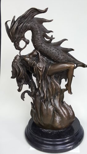 A Bronze Sculpture Of Mythical Dragon And Woman,