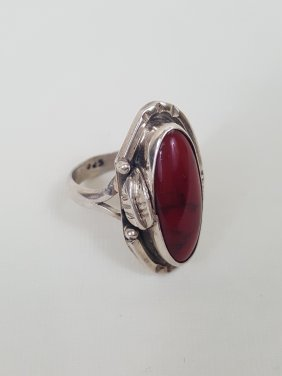 A Handmade American Indian Silver Red Turquoise Ring