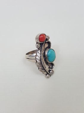 A Native Indian American Silver Feather Turquoise Coral