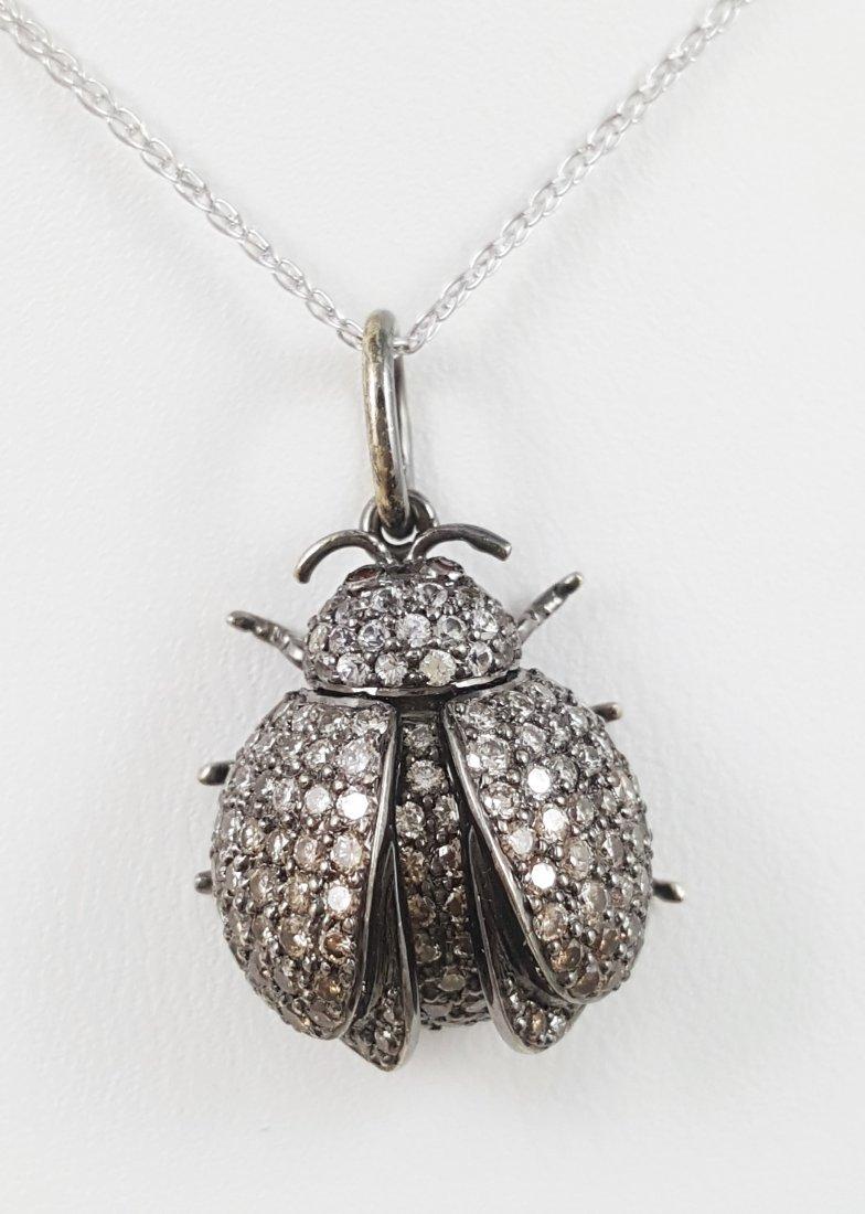 A Ladybug Diamond Necklace on 18k White Gold