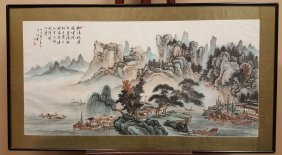 A Large Framed Chinese Watercolor Painting Of Landscape
