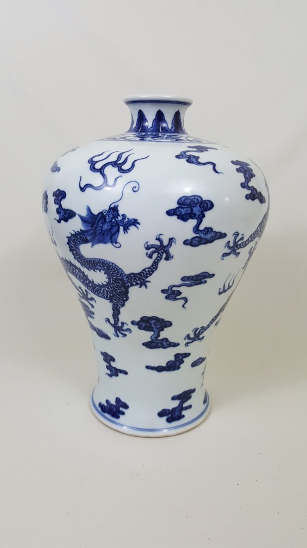 A Blue and White Porcelain Dragon Meiping Vase, Qing