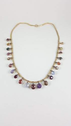 A Victorian 18k Yellow Gold Natural Multi Color Gem