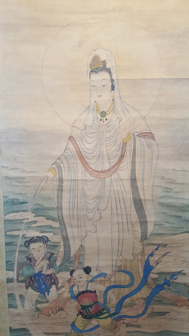 An Original Chinese Scroll Watercolor Painting of Guan