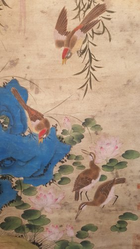 A Long Chinese Scroll Painting Of Birds