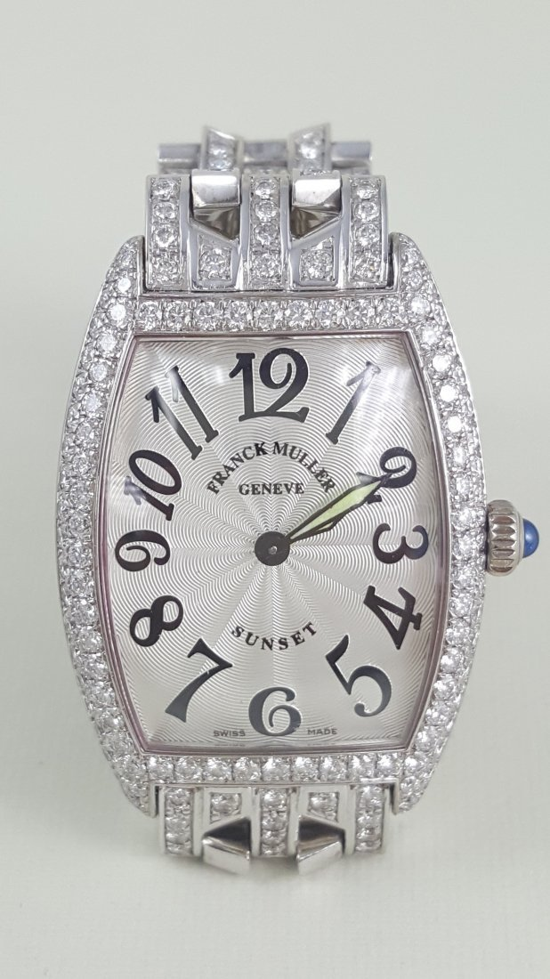 A Franck Muller Sunset 18K White Gold & Diamond