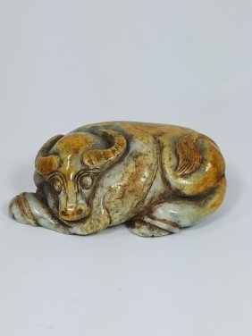 A Jade Carving Of A Recumbent Water Buffalo ,qing Style