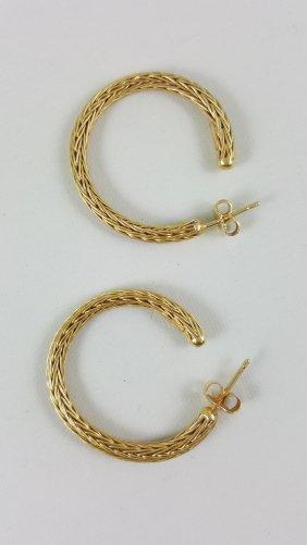 Ilias Lalaounis 18k Handmade Woven Gold Hoop Earrings-