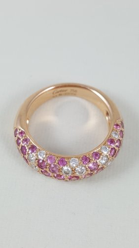 A Cartier Pink Sapphire And Diamond Ring