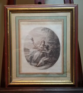 A Framed Engraving On Paper Depiction Of Young Couple