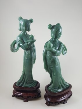 A Pair Of Green Jade Ladies Figures