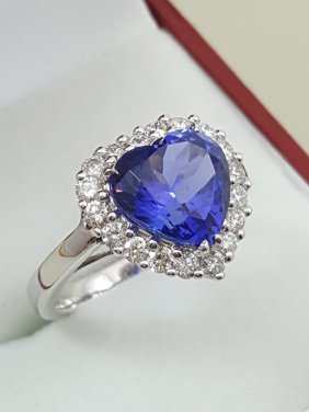 A 18k White Gold Tanzanite Ring With Diamonds